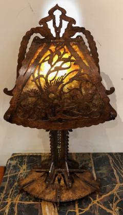 Dutch Arts and Crafts Amsterdam School scroll cut Birch Lamp Mica 1920 - 1352421