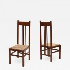Dutch Modernist High Back Chairs with Cord Seating 1920s - 1322425