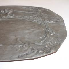 E Duchez 1900s French Art Nouveau Sculpted Pewter Dish with Fishing Putti in Relief - 1316120