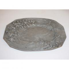 E Duchez 1900s French Art Nouveau Sculpted Pewter Dish with Fishing Putti in Relief - 1316121