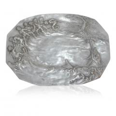 E Duchez 1900s French Art Nouveau Sculpted Pewter Dish with Fishing Putti in Relief - 1316122