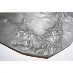 E Duchez 1900s French Art Nouveau Sculpted Pewter Dish with Fishing Putti in Relief - 1316126