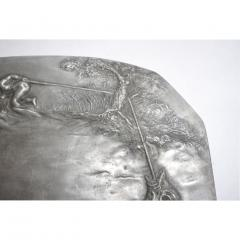 E Duchez 1900s French Art Nouveau Sculpted Pewter Dish with Fishing Putti in Relief - 1316127