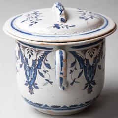 EARLY 19TH CENTURY LARGE TWO HANDLED CACHE POT IN CAMA EU BLEU ROUEN - 1791761