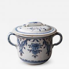 EARLY 19TH CENTURY LARGE TWO HANDLED CACHE POT IN CAMA EU BLEU ROUEN - 1792911