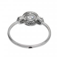 EGL Certified Three Stone Diamond Halo Gold Engagement Ring - 389046