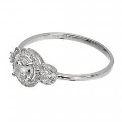 EGL Certified Three Stone Diamond Halo Gold Engagement Ring - 389048