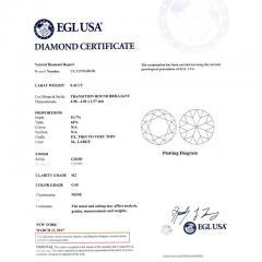 EGL Certified Three Stone Diamond Halo Gold Engagement Ring - 389049