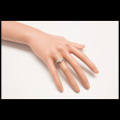 EGL Certified Three Stone Diamond Halo Gold Engagement Ring - 389050
