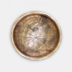 ELLIOT BERGMAN ARTIST SCULPTOR MUSICIAN ELLIOT BERGMAN BRONZE PEACE BOWLS WITH ETCHED DRAWING - 1788273