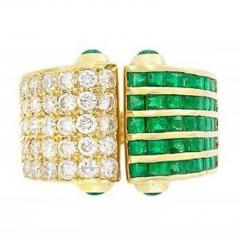 EMERALD AND DIAMOND OPEN RING 18K YELLOW GOLD - 1939301