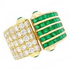EMERALD AND DIAMOND OPEN RING 18K YELLOW GOLD - 1939302