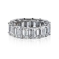 EMERALD CUT PLATINUM 15 53 CARATS DIAMOND ETERNITY BAND - 2153025
