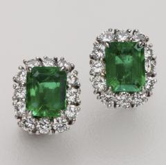 EMERALD DIAMOND 14KT WHITE GOLD EARRINGS - 1519535