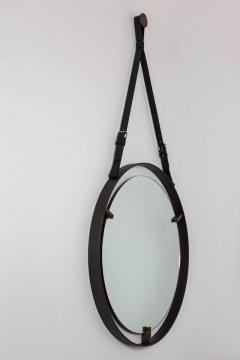 EMMERSON CIRCULAR METAL AND LEATHER MIRROR - 1570299