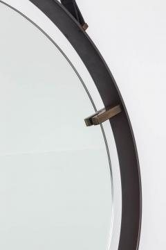 EMMERSON CIRCULAR METAL AND LEATHER MIRROR - 1570300