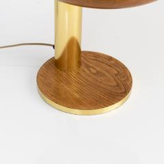 EUROPEAN MID CENTURY OAK AND BRASS DESK LAMP - 1231543