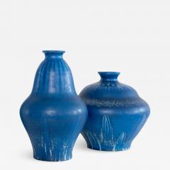 EVA JANCKE BJ RK TWO EVA JANCKE BJ RK VASES WITH BLUE GLAZE BO FAJANS - 1883138