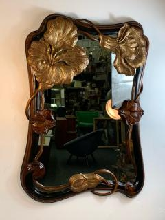 EXCEPTIONAL ART NOUVEAU CARVED AND GILT FLOWER MIRROR - 1177127