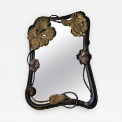 EXCEPTIONAL ART NOUVEAU CARVED AND GILT FLOWER MIRROR - 1179784
