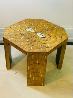 EXCEPTIONAL WOOD TABLE WITH INLAID MOTHER OF PEARL DESIGNS - 2123044