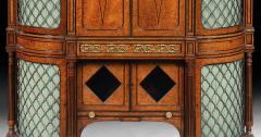 EXHIBITION QUALITY 19TH CENTURY ORMOLU MOUNTED AMBOYNA SHAPED CABINET - 1747167