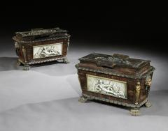 EXTREMELY RARE PAIR OF REGENCY CAST IRON SARCOPHAGUS SHAPED STRONG BOXES - 1747051