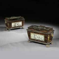 EXTREMELY RARE PAIR OF REGENCY CAST IRON SARCOPHAGUS SHAPED STRONG BOXES - 1747053