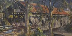Earl A Titus Landscape Painting of a Covered Bridge signed by Earl A Titus dated 1937 - 1217597