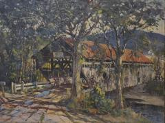 Earl A Titus Landscape Painting of a Covered Bridge signed by Earl A Titus dated 1937 - 1217598