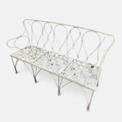 Early 1920s French Faux Bamboo Wrought Iron Garden Bench - 2065677