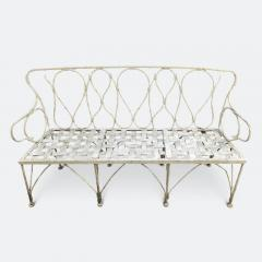 Early 1920s French Faux Bamboo Wrought Iron Garden Bench - 2065678