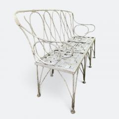 Early 1920s French Faux Bamboo Wrought Iron Garden Bench - 2065681