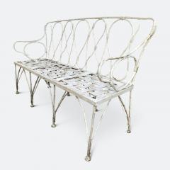 Early 1920s French Faux Bamboo Wrought Iron Garden Bench - 2065682