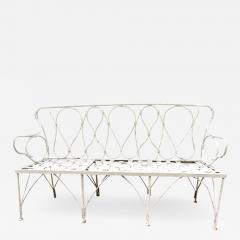 Early 1920s French Faux Bamboo Wrought Iron Garden Bench - 2068826