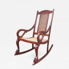 Early 19th Century Caribbean Regency Mahogany And Cane Rocking Chair    306210