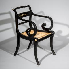 Early 19th Century English Regency Black Painted Klismos Armchair Desk Chair - 1077419