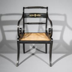 Early 19th Century English Regency Black Painted Klismos Armchair Desk Chair - 1077421