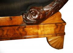Early 19th Century German Burl Walnut Biedermeier Sofa in Black Horsehair Fabric - 804289