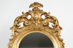 Early 19th Century Hand Carved Giltwood Crown Top Wall Mirror - 1170244