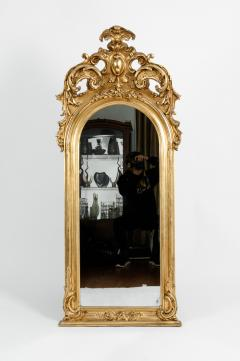 Early 19th Century Hand Carved Giltwood Crown Top Wall Mirror - 1170245