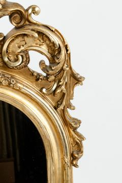 Early 19th Century Hand Carved Giltwood Crown Top Wall Mirror - 1170250