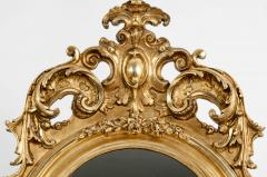 Early 19th Century Hand Carved Giltwood Crown Top Wall Mirror - 1170252