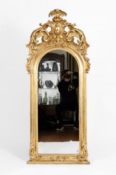 Early 19th Century Hand Carved Giltwood Crown Top Wall Mirror - 1170253