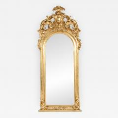 Early 19th Century Hand Carved Giltwood Crown Top Wall Mirror - 1171259