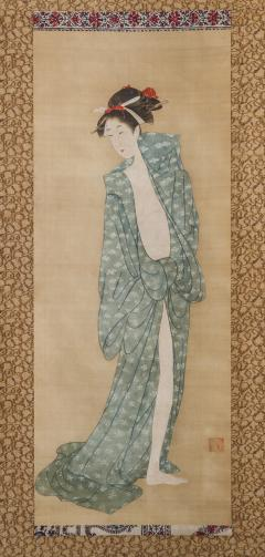 Early 19th Century Japanese Scroll Bijin After The Bath In Summer - 1964322