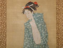 Early 19th Century Japanese Scroll Bijin After The Bath In Summer - 1964332