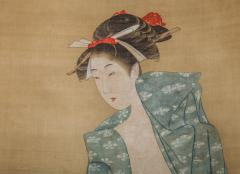 Early 19th Century Japanese Scroll Bijin After The Bath In Summer - 1964334