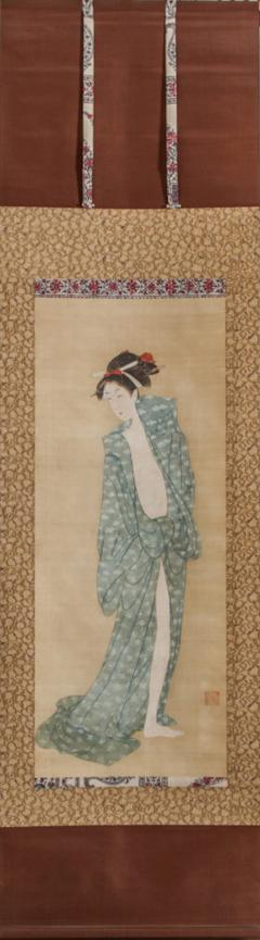 Early 19th Century Japanese Scroll Bijin After The Bath In Summer - 1964337