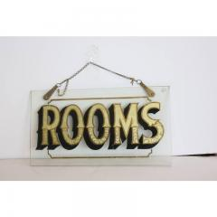 Early 20h C Antique Reverse Painted Rooms Glass Sign - 1362538